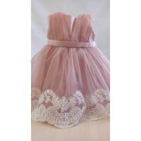 Нарядное платье до 3 мес, пудровый розовый